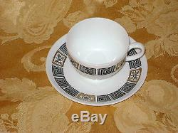 Vintage Wedgwood Asie Café Set Pot 6 Tasses Et Soucoupes Black Gold Bone China