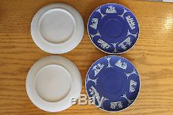 Vintage Wedgwood Cobalt Blue Jasper Ware Coffee Cup Saucer (jeu De 6), (vers 1920)