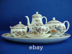 Vintage Wedgwood Complète Miniature Thé / Café Set Sur Le Plateau En Kutani Grue