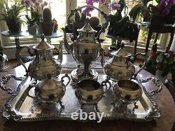Vintage -sheridan Silver Plate- Café Et Thé Mis Sur Le Plateau De Service