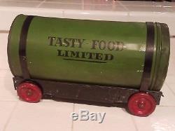 Vtg 1920s Limited Marque Étain Café Savoureux Produits Alimentaires Publicité Jouet Train Ensemble