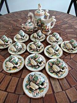 Vtg 1950 De Capodimonte Italie 17 Pc Demitasse Café HP Dore Nude Ange