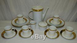Vtg 23pc Rosenthal Ascot En Porcelaine Blanche À Thé De Café Pour 6 W Gold Germany MCM