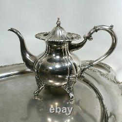 Vtg Argent Sterling. 950 Cafe & Tea Set Teapot Creamer & Sugar 2,528g Maurzz