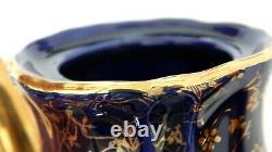 Vtg Bavarois Echt Kobalt Handarbeit Thé Au Café Ensemble Avec Plateau Bleu Withgold Floral