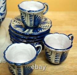 Vtg Ceramic Coffe Pot Set Made In Italy Peint À La Main Espresso Tallyrand 17 Pcs