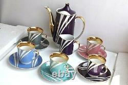 Vtg Cmielow Krokus Thé De Porcelaine Pot De Café Set Théière Tasse Pologne MCM Potterie