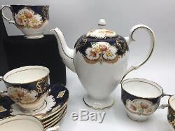 Vtg Derby Bleu Salisbury Café Set Tasses Soucoupes Creamer Sugar Bowl Coffee Pot