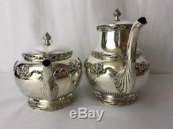 Vtg Gorham Daffodil Silver Coffee Set De Thé 5pc Creamer Sugar Déchets Bowl Victorian