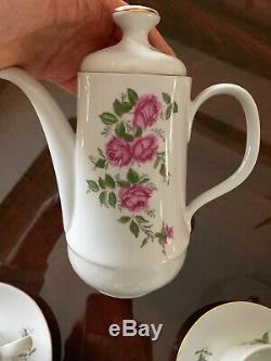 Vtg Kahla Tea Porcelaine / Demitasse Café! Roses, 14 Pc Rda Allemagne Est Exe