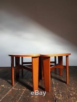 Vtg MID Century Sectionnel Modulaire Clover Table Basse Nest Set 3 Teck Danois