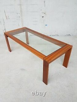 Vtg MID Century Teak Glass Coffee Table Set Of Two Nest Of Tables Side Danois