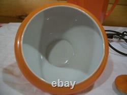 Vtg Royal Rochester Porcelaine Coffee Percolator Set Ohio Ohio Orange 20's Works