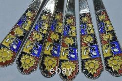 Vtg Russian Soviet Silver 875 Chaud Émail Spoon Tea Coffee Plaqué Or Set 136 Gr