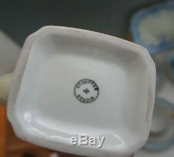 Vtg Stouffer Set À Café En Porcelaine De Chine Tasses À Café Soucoupes Ne M'oubliez Pas, Bleu Peint À La Main 20 Pc