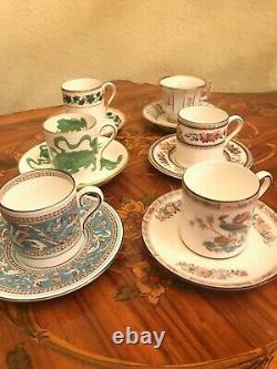 Wedgwood & Bavaria 6 Tasses Et Sauces Ancien Coffret De Porcelaine De Café Allemand