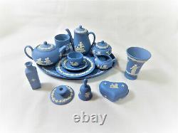Wedgwood Blue Jasper Miniature Tea Coffee Ensemble Plus Extras Vintage