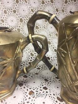 Yuchang Sterling Théière Café Pot Crème & Sucre Bambou Vintage Silver Set